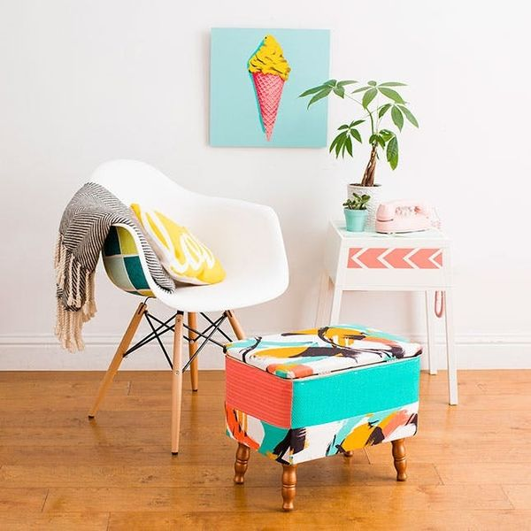 How to Turn an Ugly Thrift Store Ottoman into a Statement Piece
