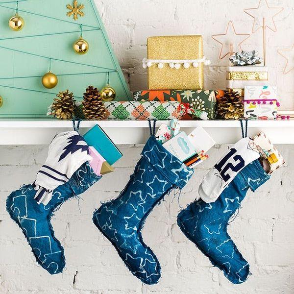 How to Make Batik Indigo Stockings for Your Mantel This Holiday