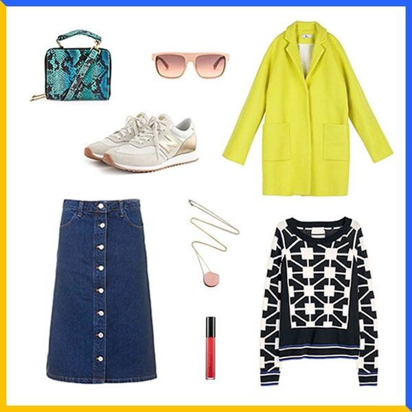 How to Style a Denim Midi Skirt for Fall