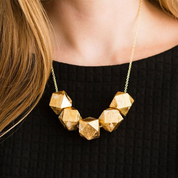 Transform Simple Wood Beads into a Gold Statement Necklace