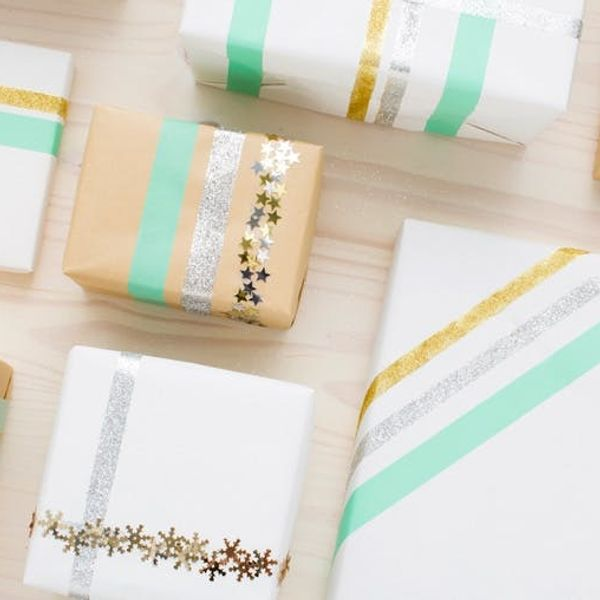 Make Confetti and Glitter Gift Wrap With Double-Sided Tape!