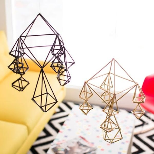 How to Repurpose Straws to Make Modern Geometric Mobiles