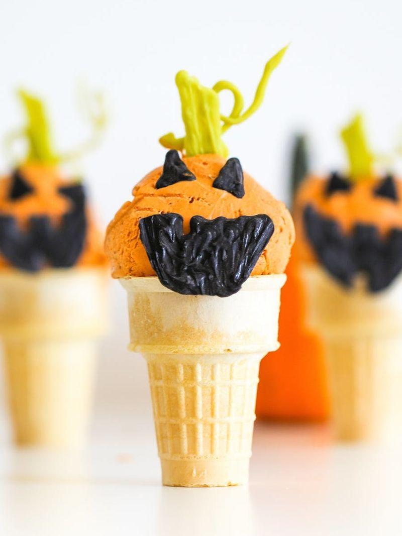 Jack-o-Lantern Pumpkin Ice Cream Halloween recipes