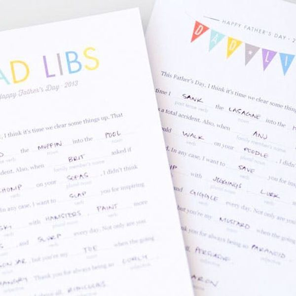 Dad Libs: Last Minute Printable Cards for Father's Day!