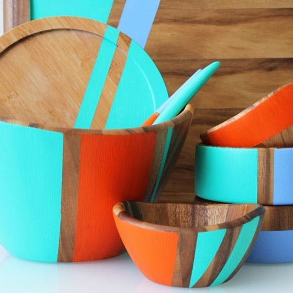 Pep Up Your Table: Color Blocked Wooden Bowls