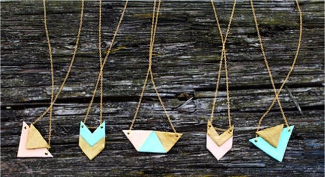 Wooden Beads and Leather Statement Necklace Leather Necklace Geometric Necklace Magenta Heart Necklace Summer Necklace Heart Necklace