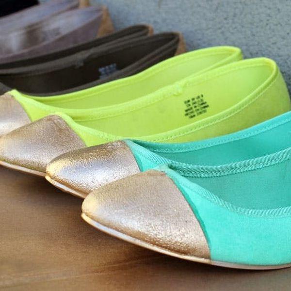 DIY Gold-Tipped Ballet Flats