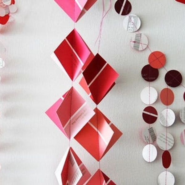 5 DIY Paint Chip Garlands for Valentine's Day