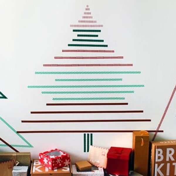 How to Create Christmas Wall Trees Using Nothing But Tape