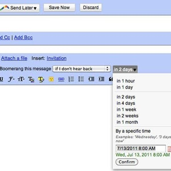 De-Clutter Your Inbox: Boomerang Sends or Returns Your Email at a Later Date