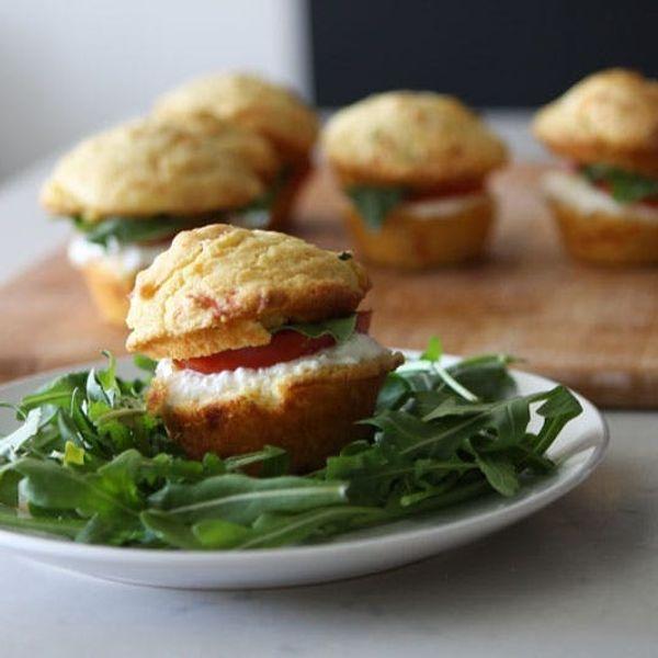 Caprese Corn Muffin Sandwiches