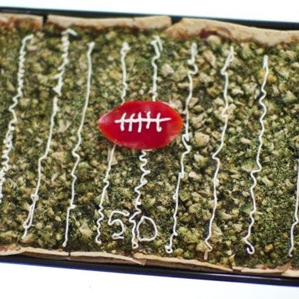 Super Bowl football field flatbread