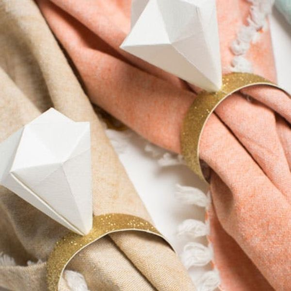 Make Origami Diamond Napkin Rings for Your Fave Blushing Bride