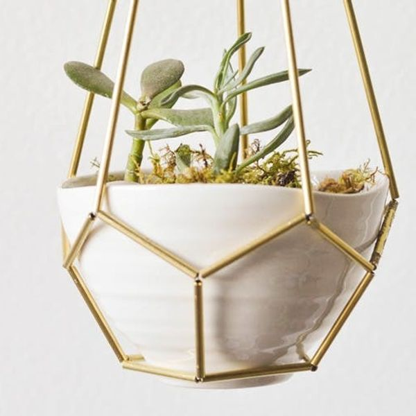 Shoutout: DIY Leather and Brass Teardrop Hanging Planter