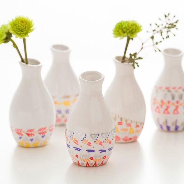 DIY Remix: Pattern-Dipped Bud Vases