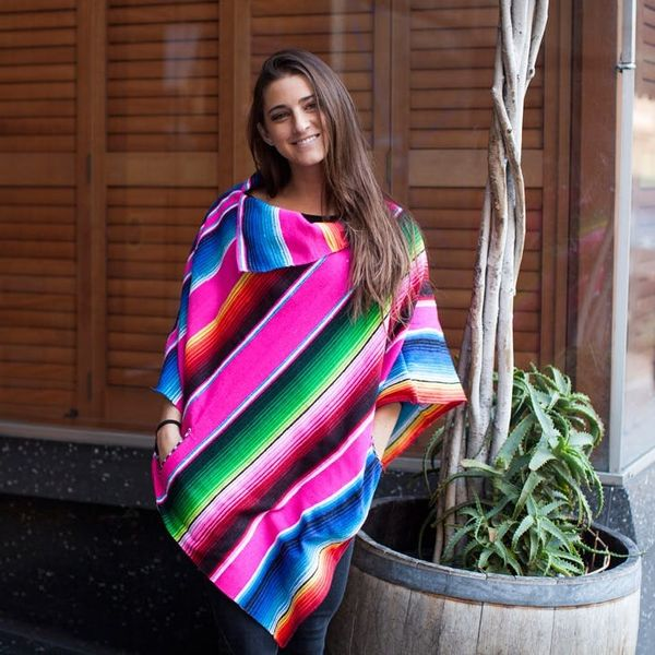 Turn a Colorful Blanket into a Chic No-Sew Poncho