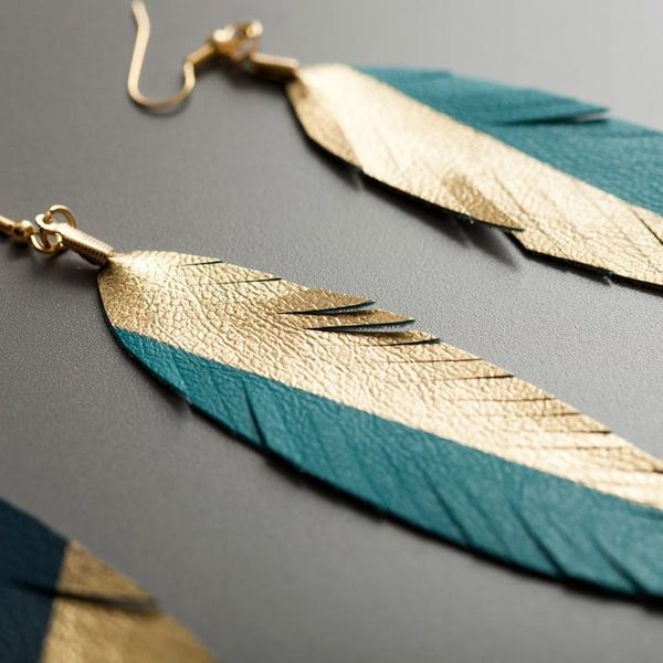 How to Make Gold-Dipped Leather Feather Earrings