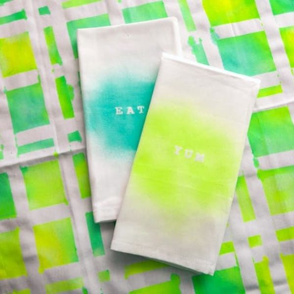 Brighten Things Up With DIY Neon Napkins and Tea Towels