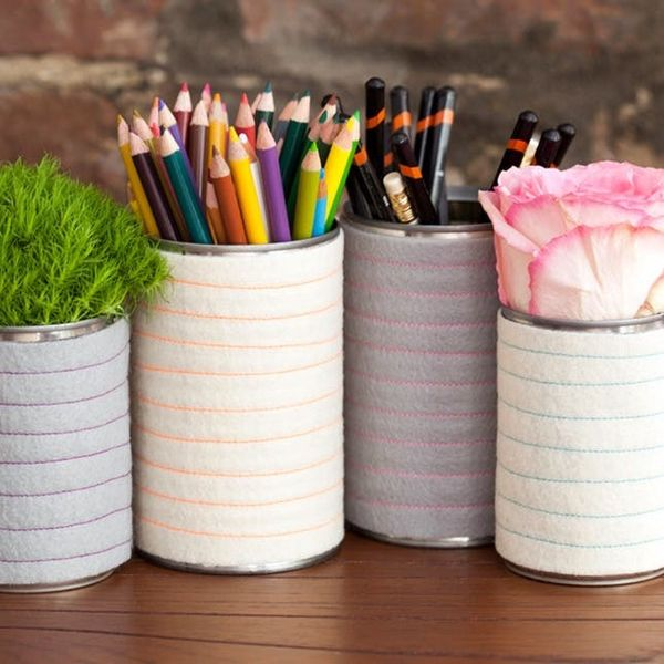 How to Make Striped Wool Pencil Pots and Planters