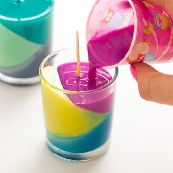 Use Crayons to Create Color Block Candles