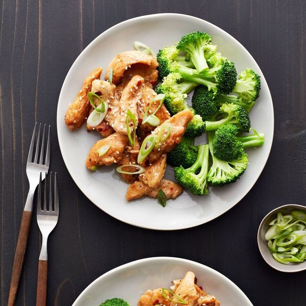 This chicken breast with sesame seeds and fresh broccoli on a dark table and white plate is just one of 30 low carb dinner recipes.