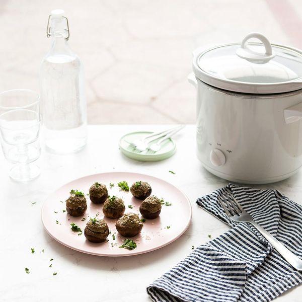 Easy, Vegetarian Slow-Cooker Stuffed Mushrooms Make an Impressive Appetizer