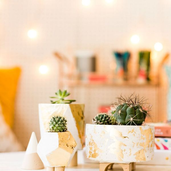 No Need to Be a DIY Expert: These Gold Cement Planters Are Foolproof