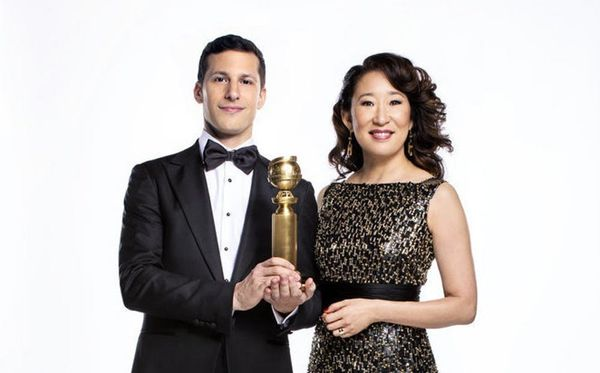 Golden Globes Hosts Andy Samberg and Sandra Oh Need to Work on Their 'Best Friend Handshake'