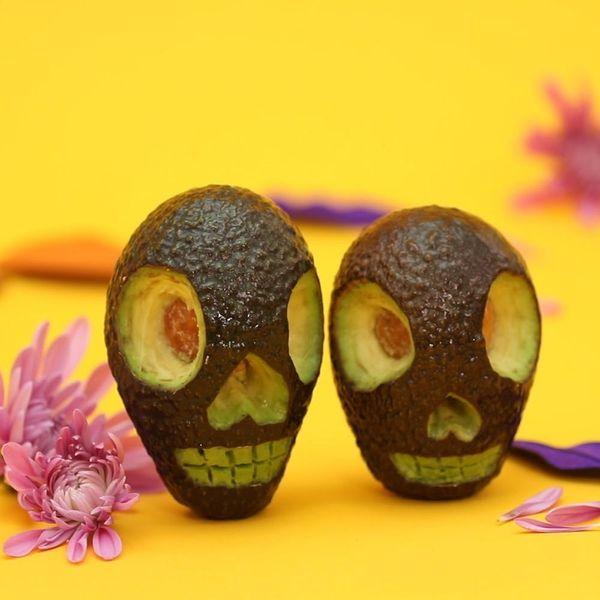 DIY Avocado Jack-o'-Lanterns