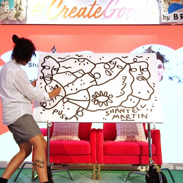 Watch artist Shantell Martin draw a stream-of-consciousness portrait on stage at #CreateGood