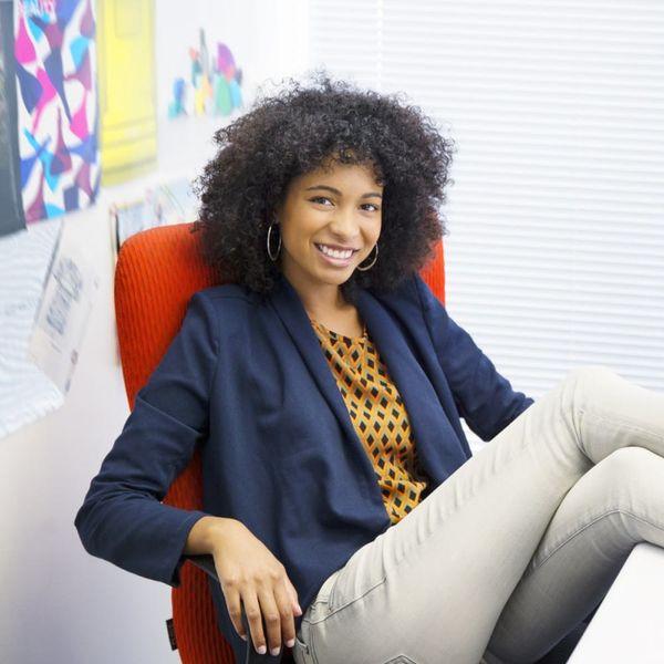 Career Woman in Desk Chair