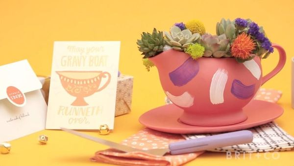 How to Turn A Gravy Boat into a Succulent Planter