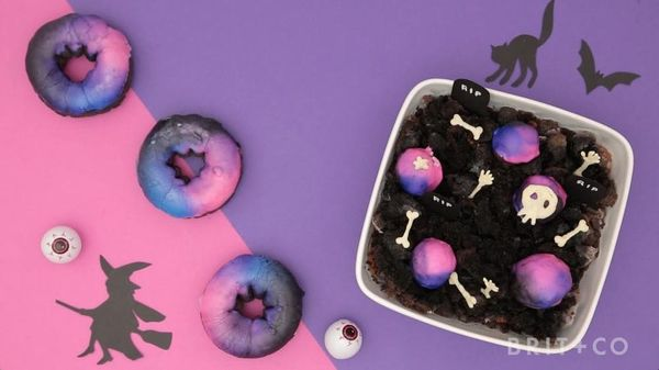 Make This Midnight Donut Hole Graveyard for Your Halloween Bash
