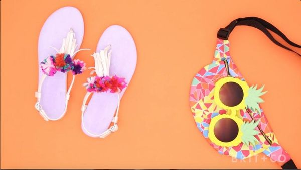 How to DIY Pom Pom Sandals