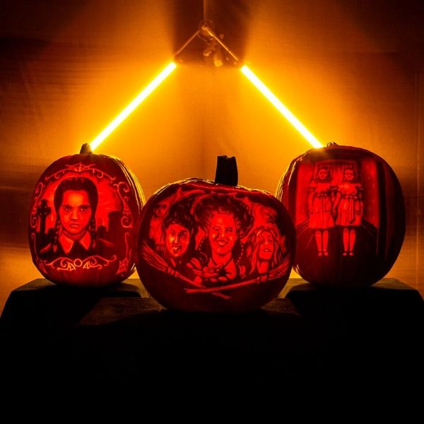 Watch This Mesmerizing Pumpkin Carving Video of the Sanderson Sisters, Wednesday Addams, and the Grady Twins