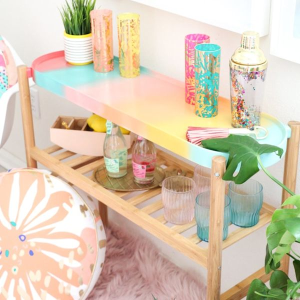 The Ultimate Guest Room Minibar, Ombre Letter Balloons, and More DIY Projects to Try This Weekend
