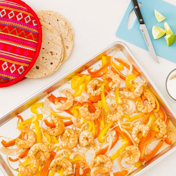 Plan a Weeknight Fiesta With This Sheet Pan Shrimp Fajitas Recipe