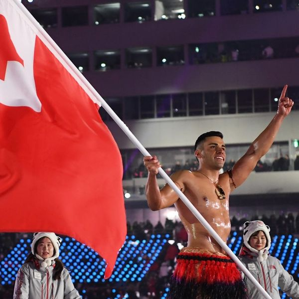 Tonga's Famous Shirtless Flag Bearer Is BACK for the2018 Winter Olympics!