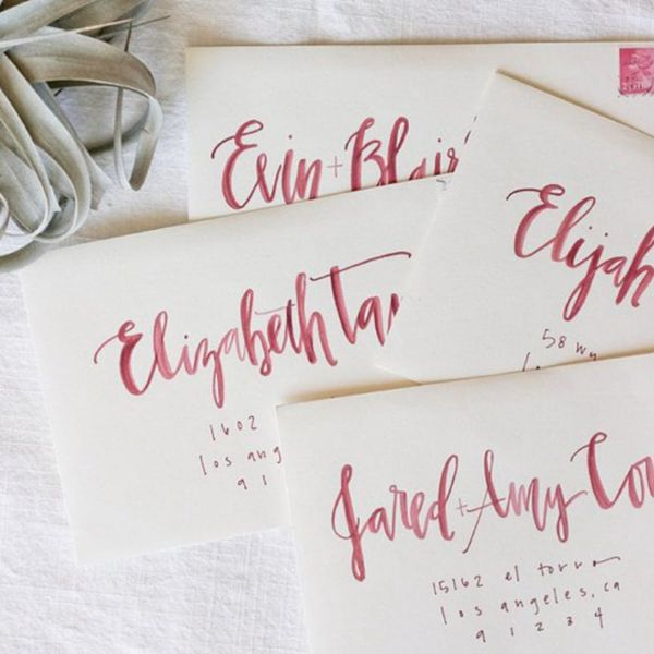 These Hand-Lettered Wedding Envelopes Will Give You Calligraphy Envy