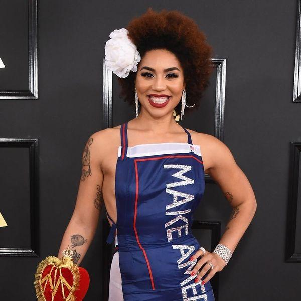 Singer Joy Villa Just Rocked a Pro-Trump Dress on the Grammys Red Carpet
