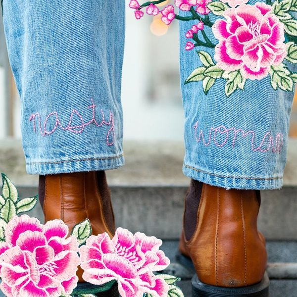 Add Feminist Flair to These DIY Embroidered Jeans