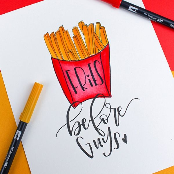Choose Fries Before Guys With This Hand-Lettered Galentine's Day Tutorial