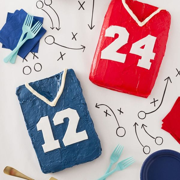 Score a Touchdown at Your Super Bowl Party With Football Jersey Cakes