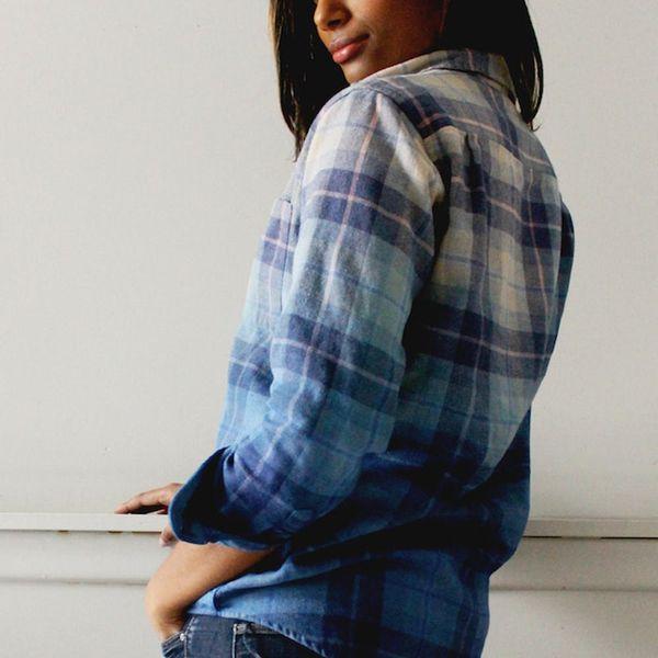 Stay Cozy in This DIY Dip-Dye Flannel Shirt