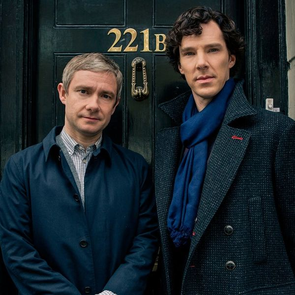 portrait photo of TV characters Holmes (right) and Sherlock (left)