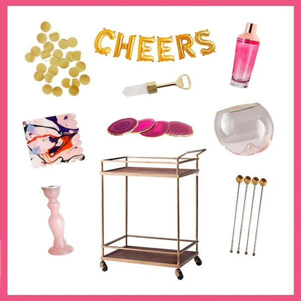 3 Ways to Decorate Your Bar Cart for NYE