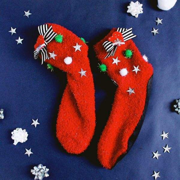 DIY These No-Sew Ugly Sweater Slipper Socks for Christmas