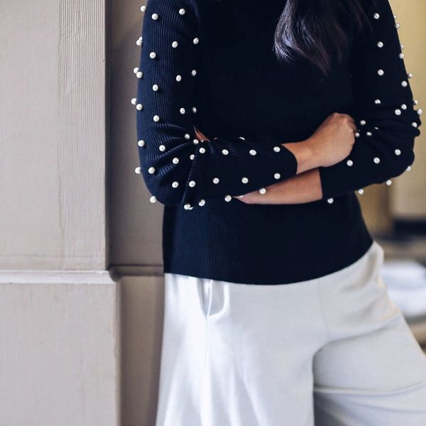 This DIY Pearl Studded Turtleneck Is a Winter Win