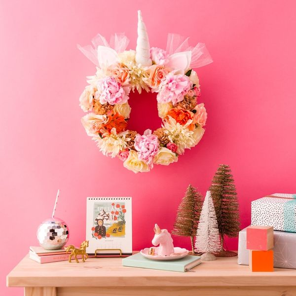 Make Your Dreams Come True With This DIY Floral Unicorn Christmas Wreath