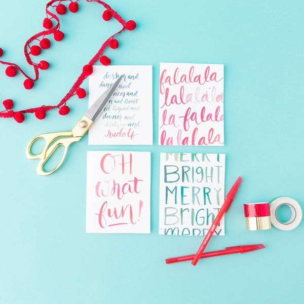 Free Printable Friday: Festive Hand-Lettered Holiday Cards